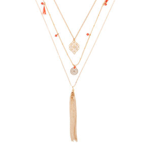Gold Boho Filigree Multi Strand Necklace - Coral,