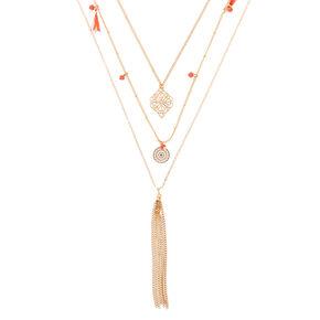 Gold Boho Filigree Multi Strand Necklace - Coral,