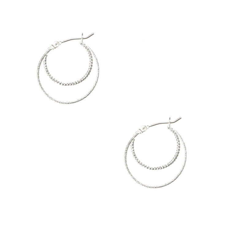 Silver Laser Cut & Hammered Double Circle Hoop Earrings,