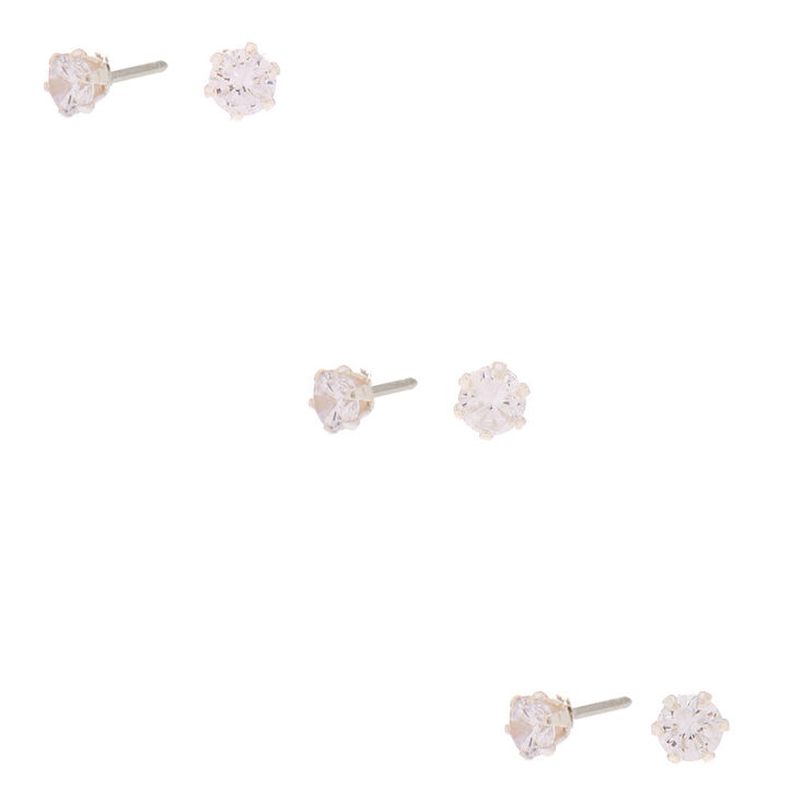 Sterling Silver Cubic Zirconia 4MM Round Stud Earrings - 3 Pack,