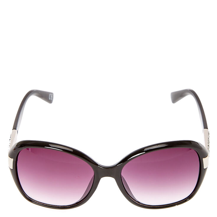 Oversized Bling Arm Tinted Sunglasses - Black,