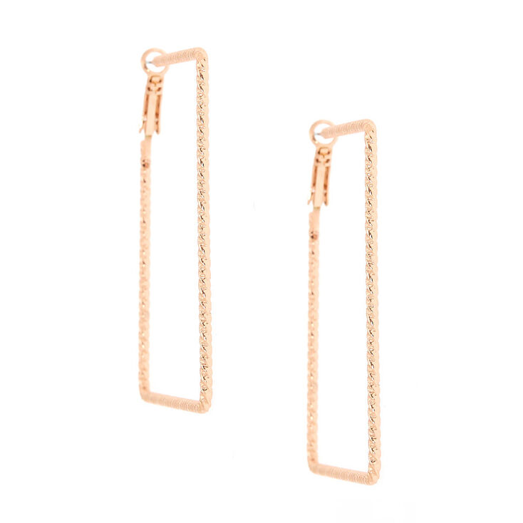 Rose Gold 60MM Textured Square Hoop Earrings,