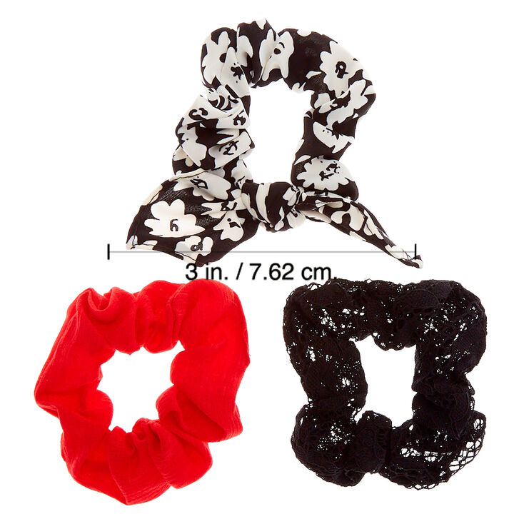 Small Black & Red Floral Lace Hair Scrunchies - 3 Pack,