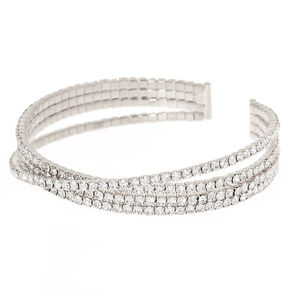Silver Glass Rhinestone Criss Cross Cuff Bracelet,