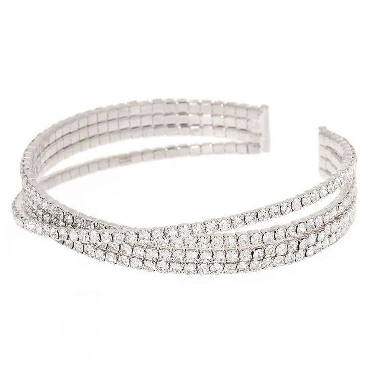 Silver Rhinestone Diagonal Cuff Bracelet,