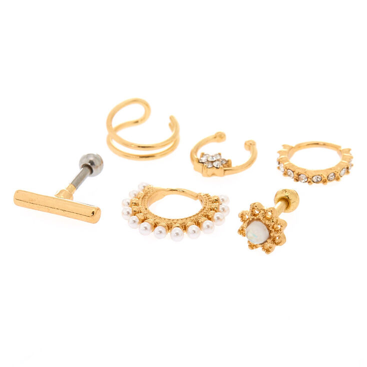 Real + Faux Gold-Tone Constellation Earrings,