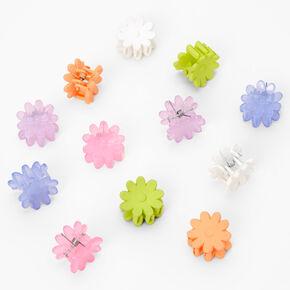 Pastel Rainbow Daisy Mini Hair Claws - 12 Pack,