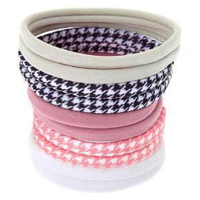 Pale Houndstooth Rolled Hair Ties - 10 Pack,