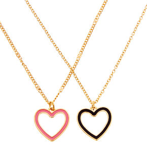Gold Open Heart Pendant Necklaces - 2 Pack,