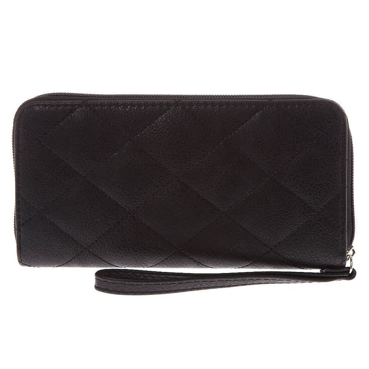 Quilted Pearl Wristlet - Black,