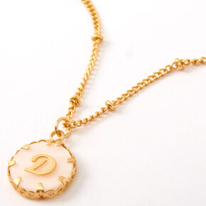Gold Shell Initial Pendant Necklace - D,