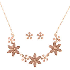 Rose Gold Glitter Flower Jewelry Set,