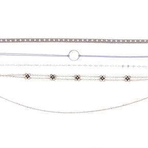 Brushed Silver Choker Necklaces - 5 Pack,