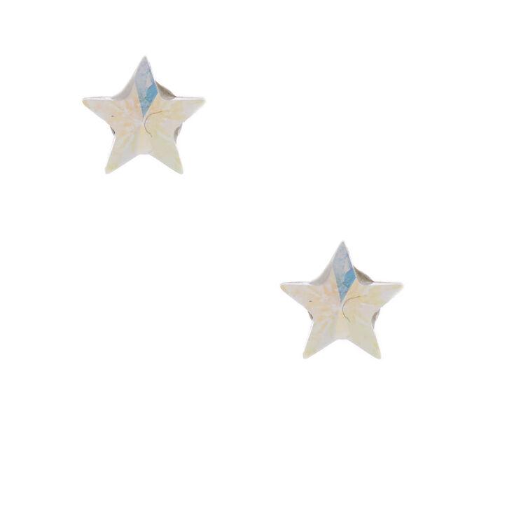 Sterling Silver 5MM Swarovski® Crystal Star Earrings,