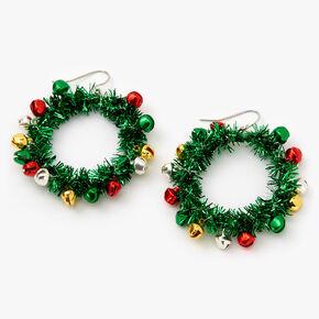 """Silver 1.5"""" Tinsel Wreath Drop Earrings - Green,"""