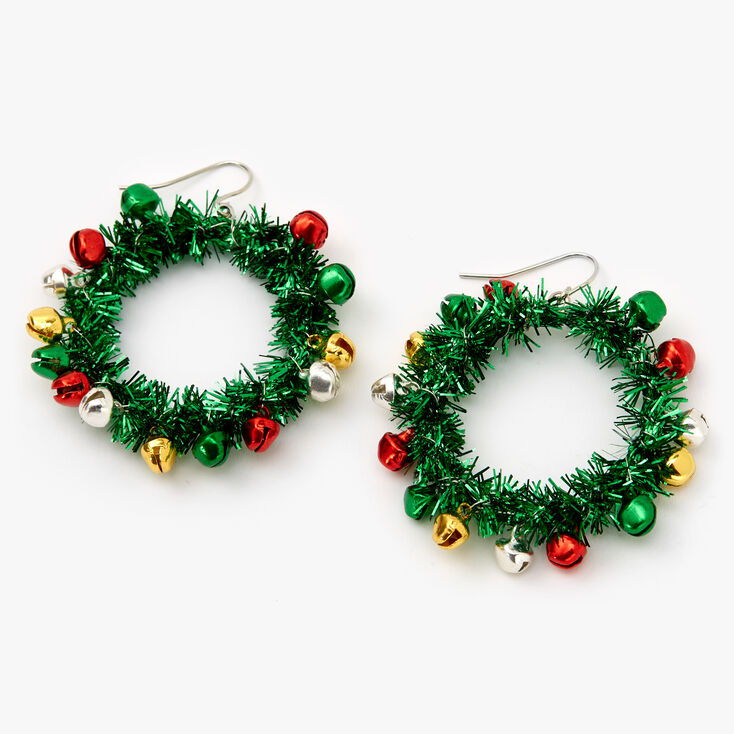 "Silver 1.5"" Tinsel Wreath Drop Earrings - Green,"