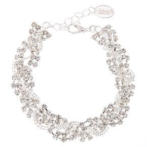 Silver Rhinestone Braided Chain Bracelet,