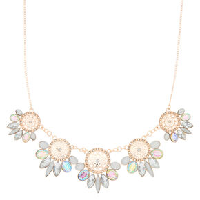 Rose Gold Iridescent Filigree Statement Necklace,