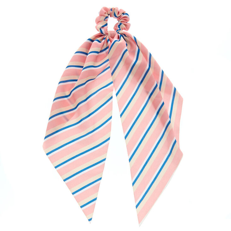 Striped Scarf Hair Scrunchie - Pale Pink,