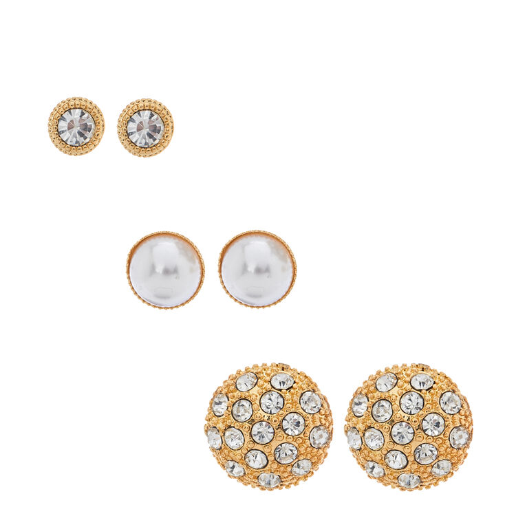 Crystal Cluster & Faux Pearl Dome Stud Earrings,
