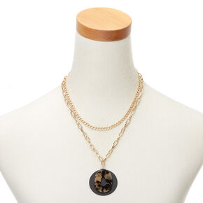 Gold Resin Tortoiseshell Matte Multi Strand Necklace,