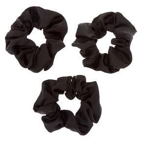 Silk Hair Scrunchies - Black, 3 Pack,