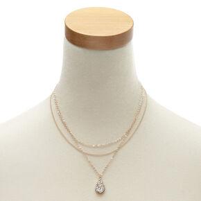 Rose Gold Druzy Pendant Necklace,