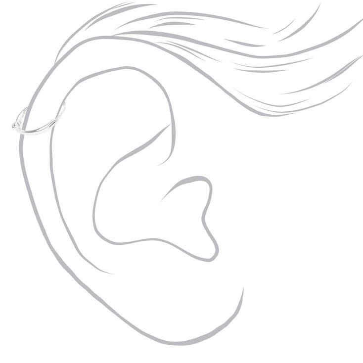 Sterling Silver 22G Crystal Hinge Cartilage Hoop Earring,