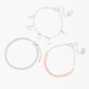 Silver Butterfly Beaded Chain Bracelets - Pink, 3 Pack,