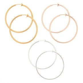 Mixed Metal 40MM Clip On Hoop Earrings - 3 Pack,