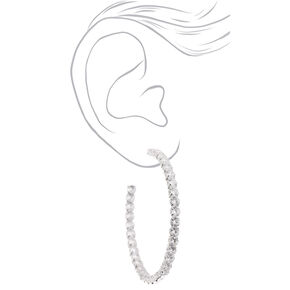 Silver 60MM Cubic Zirconia Hoop Earrings,