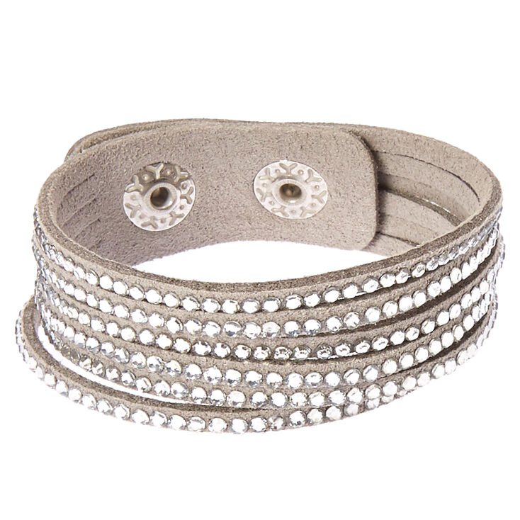 Gray & Silver Gem Snap Button Bracelet,