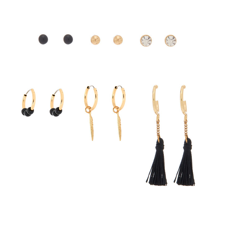 Gold Tassel Leaf Mixed Earrings - Black, 6 Pack,