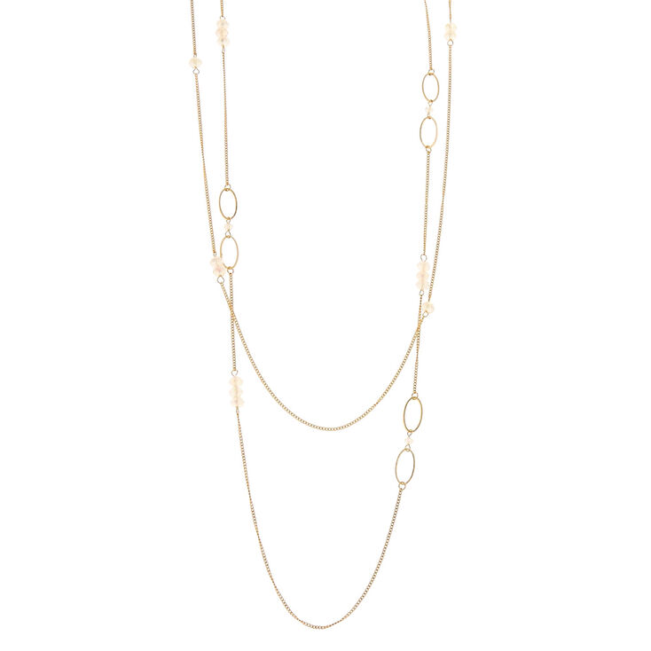Iridescent Crystal Gold Loop Chain Necklace,