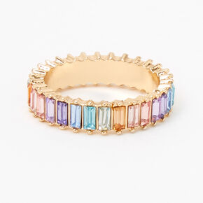 Gold Rainbow Baguette Ring,