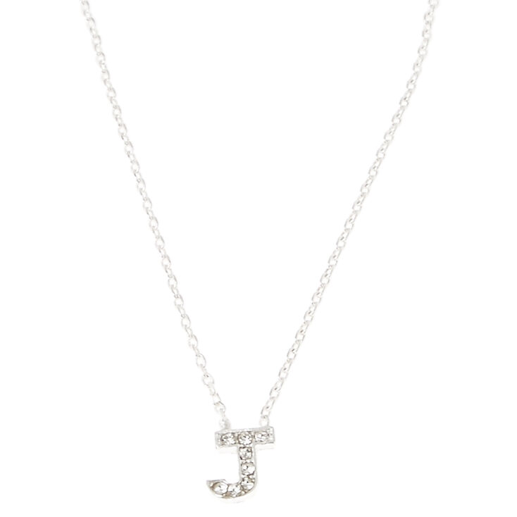 Silver Embellished Initial Pendant Necklace - J,