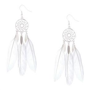 """Silver 3.5"""" Dreamcatcher Drop Earrings - White,"""