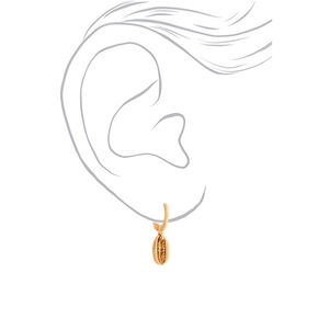 Gold 10MM Cowrie Shell Charm Hoop Earrings,