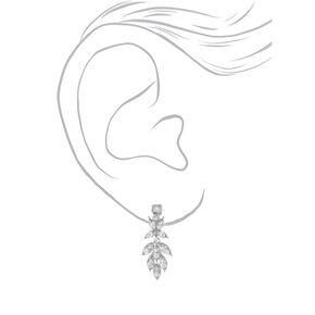 """Silver 1.5"""" Crystal Petal Clip On Drop Earrings,"""