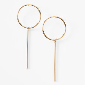 """Gold Plated 3"""" Open Circle Linear Drop Earrings,"""