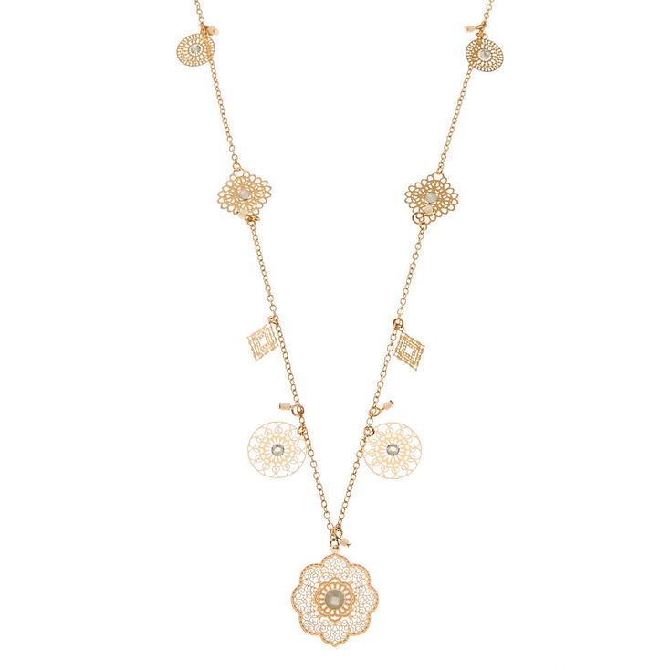 Rose Gold Filigree Discs Long Necklace,