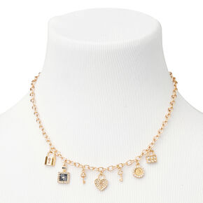 Gold Key to My Heart Chunky Chain Pendant Necklace,