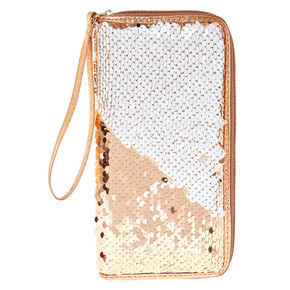 Rose Gold to White Reversible Sequin Zipper Wristlet,