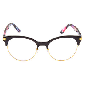 Gold Floral Browline Clear Lens Frames - Black,