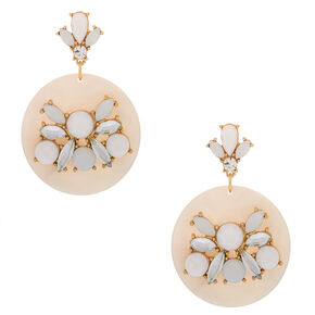 "Gold 2"" Embellished Drop Earrings - White,"