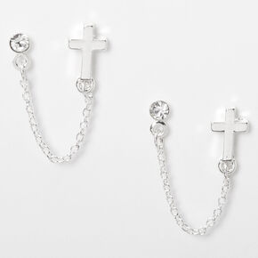 Silver Embellished Cross Connector Chain Stud Earrings,