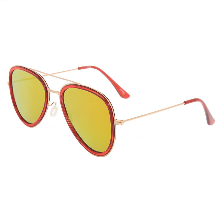 Metallic Frame Aviator Sunglasses - Red,