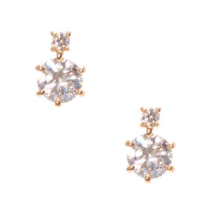 Gold Round Cubic Zirconia Drop Earrings,