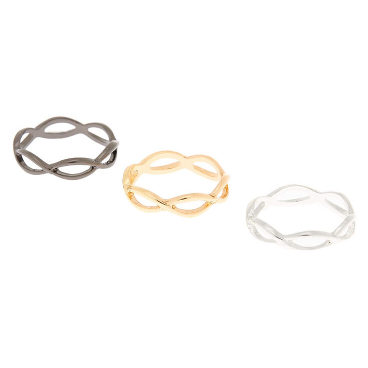 Mixed Metal Looped Ring Set - 3 Pack,