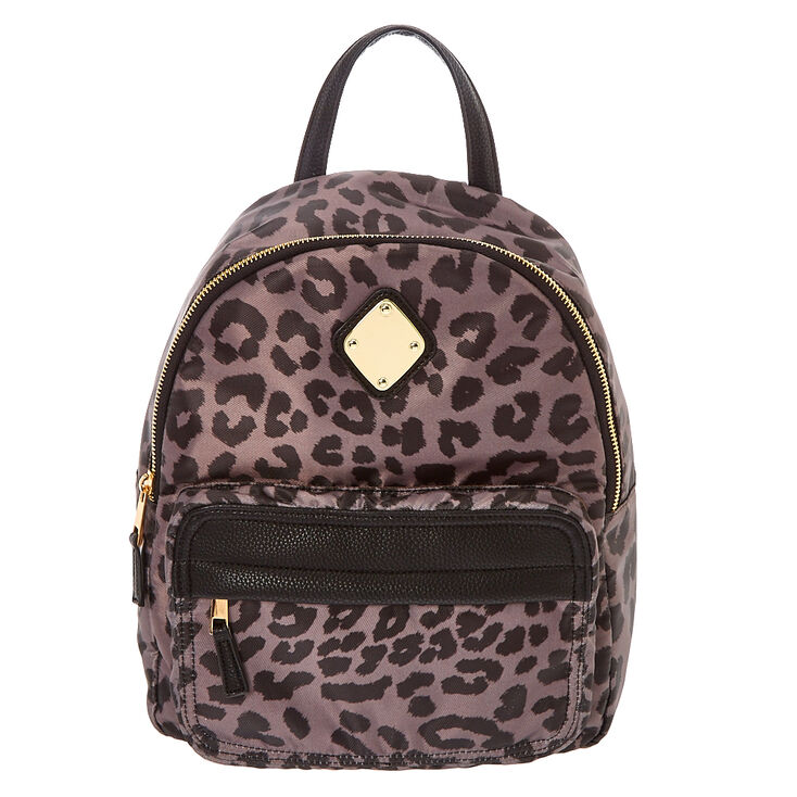 Gray Leopard Print Satin Backpack,